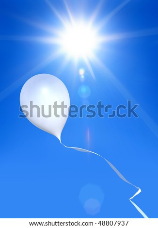 toy balloon soaring in the blue sky under shining sun