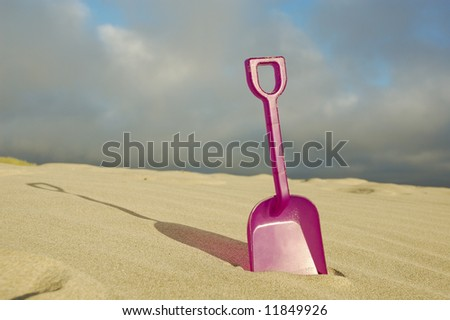 Toy beach shovel ready for play
