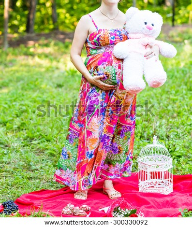 Toy bear cub against a stomach of the pregnant woman. The pregnant woman with a toy bear on a meadow
