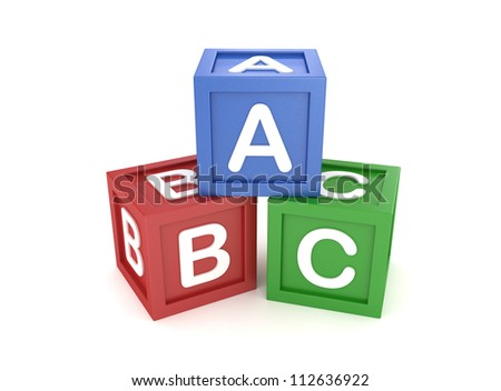 Toy Block with ABC Letter on White Background