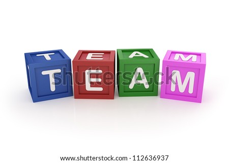 Toy Block with Team Word on White Background