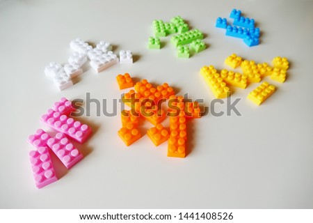 Toy blocks grouped by color