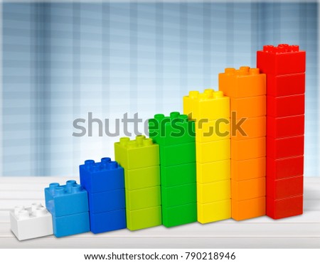 Toy Blocks Infographic Chart Stair Bar, Multicolor Kids Bricks on White Background #790218946
