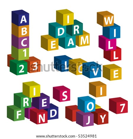 "Toy blocks with letters forming the words ""love"", ""will"", ""dream"", ""friend"", ""joy"", you may arrange some other words"