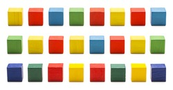 Toy Blocks, Wood Cube Bricks, Multicolor Wooden Cubic Boxes, White Isolated Clipping Path