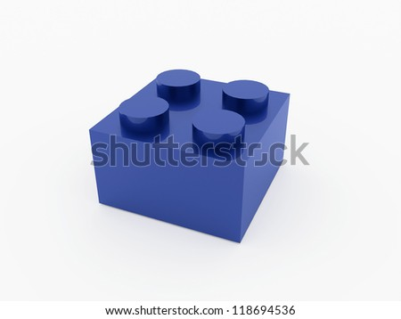 Toy box brick blue rendered isolated - stock photo