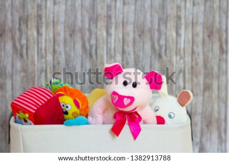 Toy Box full of soft animal toys #1382913788