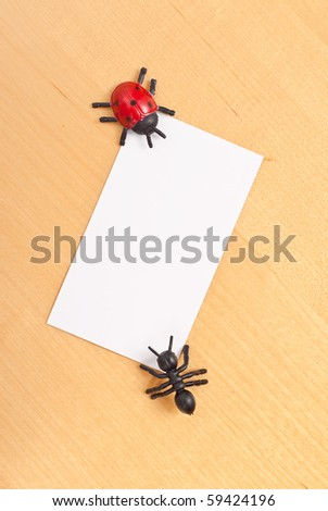 Toy Bugs with Blank Business Card