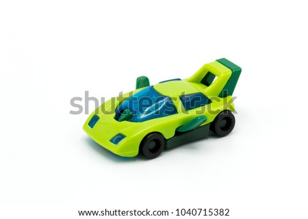 Toy car isolated on white background. It copy space and selection focus.