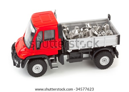 Toy car truck with screws isolated on white background