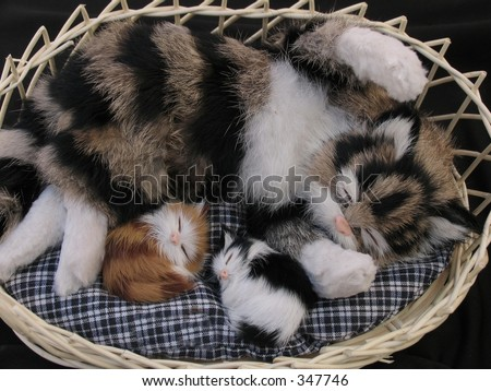 Toy cat with kittens in basket.