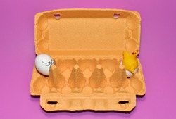 Toy chicken in a hen's egg among. Broken egg and born chick in eggshell. Chicken eggs in a cardboard box with painted emotions on the shell. Egg with a face of sadness, depression and fear.
