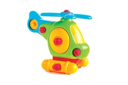 toy children's helicopter ON A WHITE BACKGROUND, HORIZONTAL ORIENTATION, ISOLATED