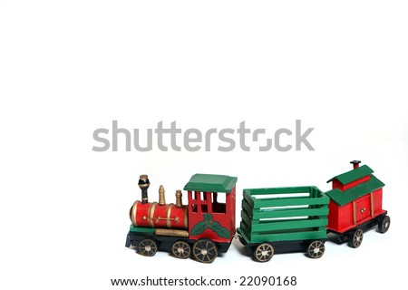 Toy Christmas Train isolated on white background.