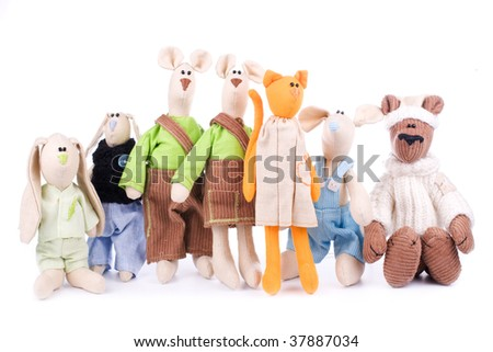 Toy company - many toys in a group isolated