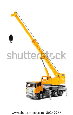 toy crane isolated over white backgroung