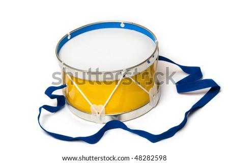 Toy drum on white background
