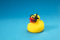 Toy duck wearing diving goggles and snorkel in blue background.