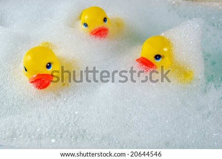toy ducks in bubble bath