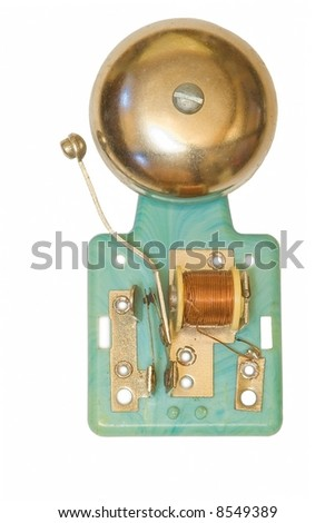 Toy electric bell  on white background - stock photo