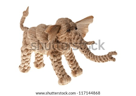 Toy elephant made of linen isolated on white
