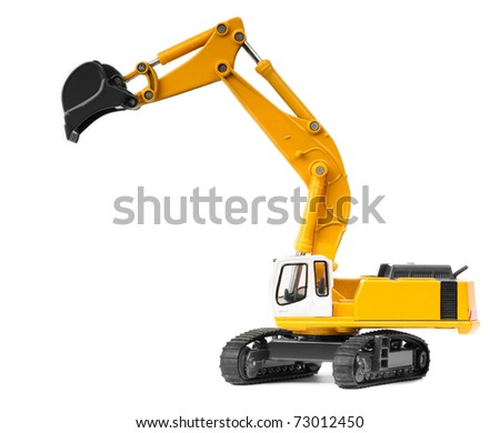 toy excavator isolated over white background