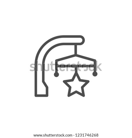 Toy for crib line icon isolated on white