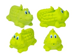 Toy for the bathroom on a white background, green crocodile