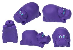 Toy for the bathroom on a white background, purple hippo