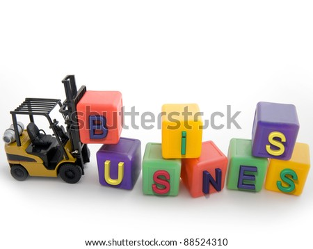 Toy fork lift with business