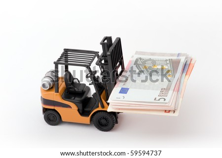 Toy fork lift with 5 euro