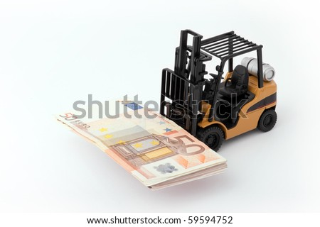 Toy fork lift with 50 euro