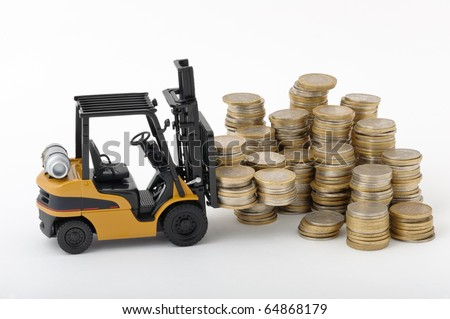 Toy fork lift with pile of coins