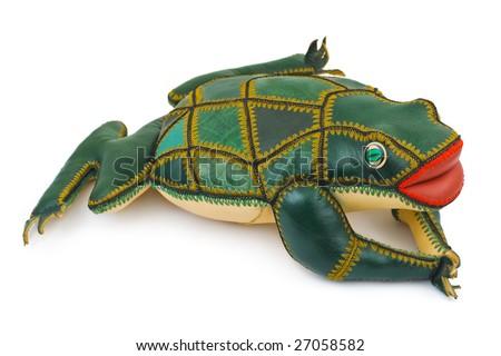 Toy frog isolated on white background