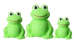 Toy Frogs on White Background