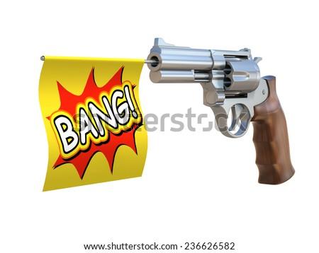 toy gun with bang flag