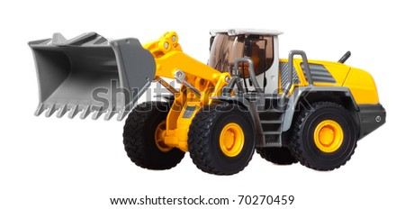 toy heavy bulldozer on a white background