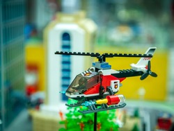 toy helicopter. Lego blocks. Toys from bricks for playing. Educational toys for preschool and kindergarten child.