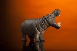toy hippopotamus isolated on orange background