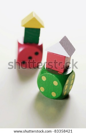Toy Houses on Dice on Seamless Background #83358421