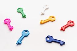 toy keys, multi-colored keys, house keys