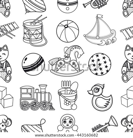 Toy kid 39 s seamless pattern baby background toddler toys for Baby toys coloring pages