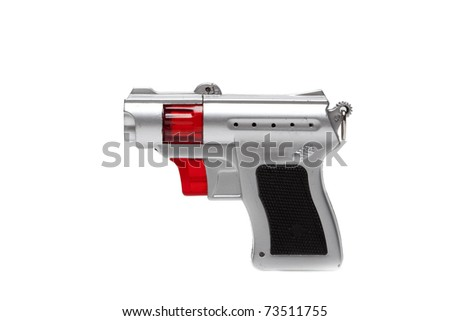 Toy laser raygun isolated on white - stock photo