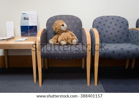 Toy lion in hospital waiting room #388401157