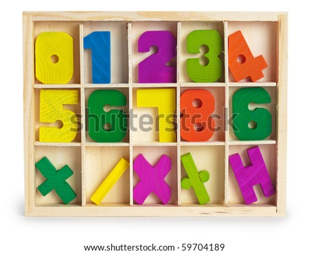 Toy mathematical wooden figures in a box - stock photo
