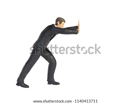 toy miniature businessman pushing figure lifting, figurine concept isolated on white background
