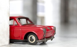 Toy model car, old red car