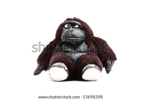 toy monkey isolated on white - stock photo