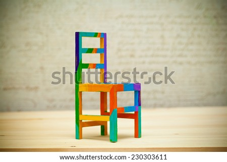 Toy multicolored wooden chair Art handmade