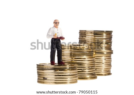 Toy of an elderly man standing on a stack of coins on a white background, representing the concept of retirement.